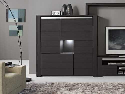 vitrine helios en bois d 39 oregon 4 portes assymetriques en bois plein meubles bois massif. Black Bedroom Furniture Sets. Home Design Ideas