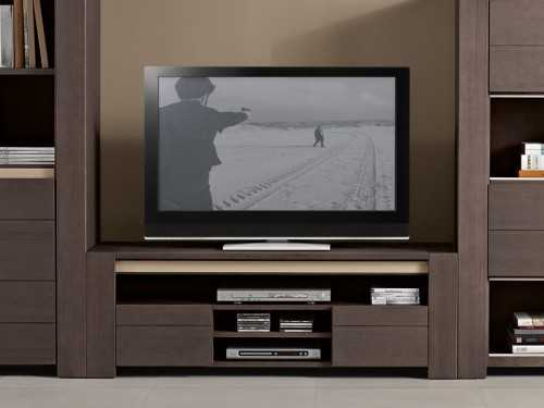 meuble tv helios en bois massif d 39 oregon 2 portes 1 niche. Black Bedroom Furniture Sets. Home Design Ideas