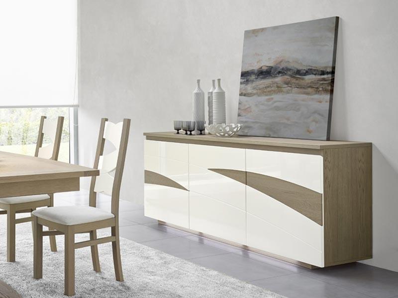 buffet en bois semi massif tivoli 3 ou 4 portes avec d tails en bois laqu. Black Bedroom Furniture Sets. Home Design Ideas