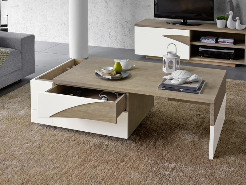 table basse bar en ch ne massif tivoli avec plateau coulissant et detail en bois laqu. Black Bedroom Furniture Sets. Home Design Ideas
