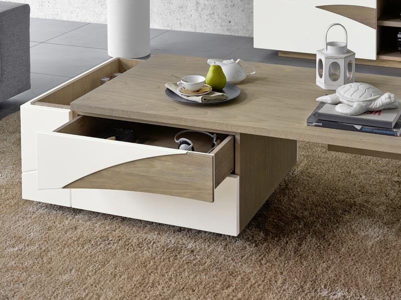 Table basse bar en ch ne massif tivoli avec plateau coulissant et detail en - Table basse bar design ...