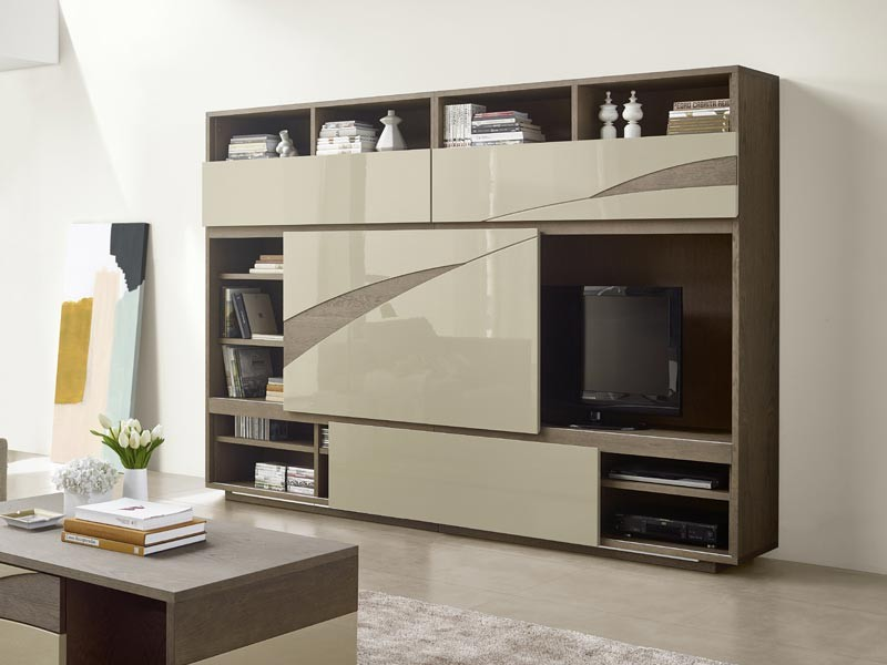 meuble de rangement pour le salon tivoli 2 portes coulissantes et niche tv meubles bois massif. Black Bedroom Furniture Sets. Home Design Ideas