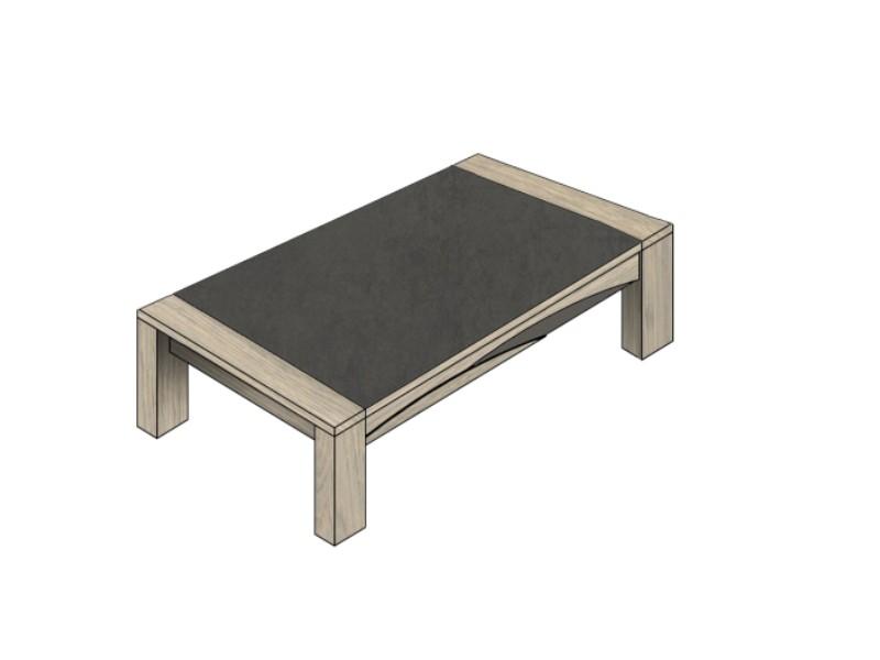 Table basse en bois semi massif tivoli avec d tails en bois laqu - Mobilier de france table basse ...