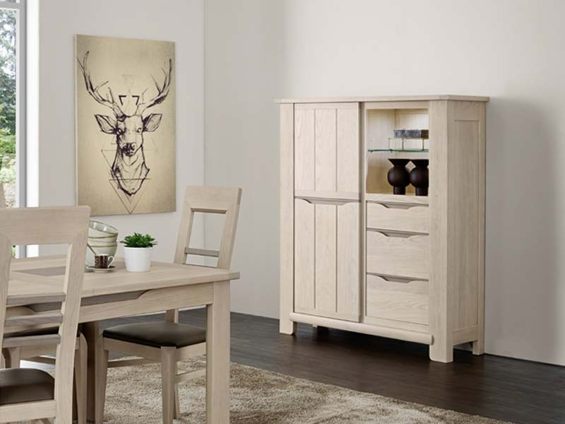 vitrine en bois semi massif cigale 3 portes 1 niche et 1 tiroir meubles bois massif. Black Bedroom Furniture Sets. Home Design Ideas