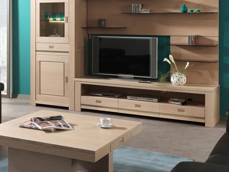 Meuble tv vivaldi en ch ne semi massif avec niche et for Meuble tv avec niche