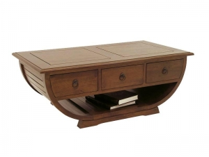 table basse moka demi tonneau avec 3 tiroirs sous plateau meubles bois massif. Black Bedroom Furniture Sets. Home Design Ideas