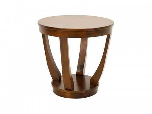 Gu ridon rond moka avec pied central en arc meubles bois massif - Gueridon maison du monde ...