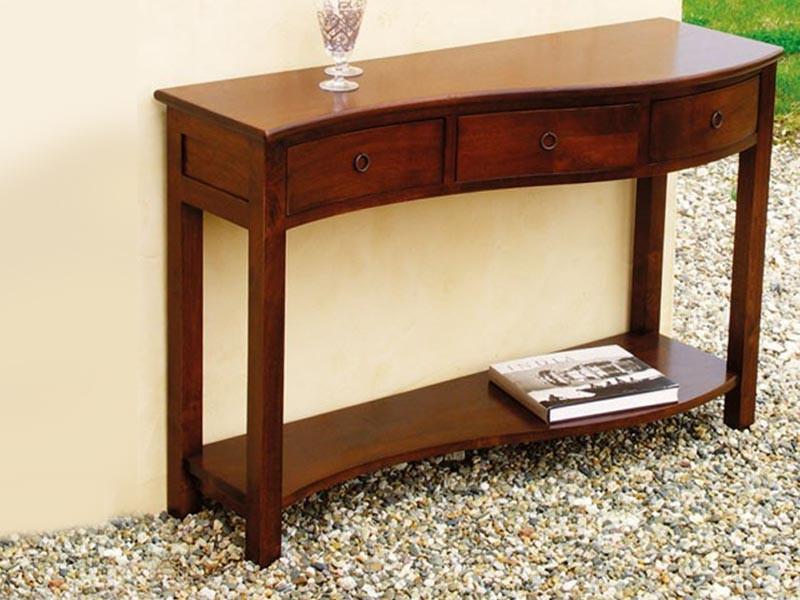 console vague moka en bois massif double plateau et 3 tiroirs meubles bois massif. Black Bedroom Furniture Sets. Home Design Ideas