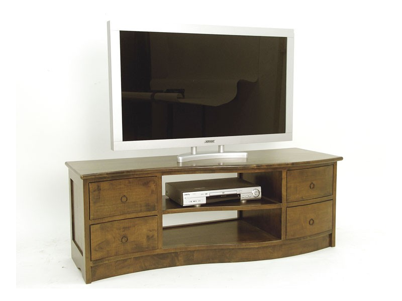 meuble tv moderne en vague moka 4 tiroirs 2 niches meubles bois massif. Black Bedroom Furniture Sets. Home Design Ideas