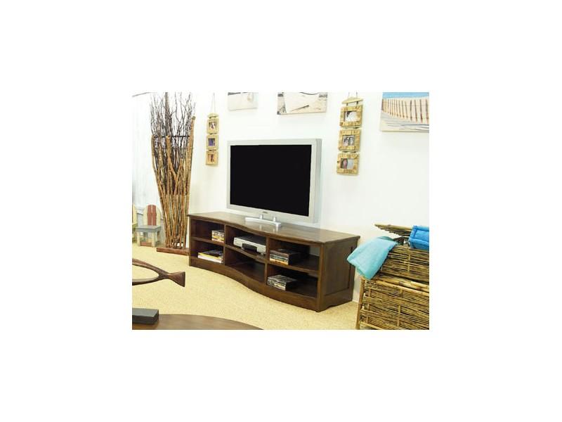 meuble tv moderne en vague moka 4 tiroirs 2 niches meubles bois massif. Black Bedroom Furniture Sets. Home Design Ideas