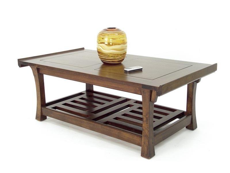 Table basse rectangulaire oscar double plateau avec - Plateau table bois massif ...