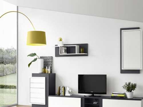 etag re murale edward en ch ne semi massif et bois laqu. Black Bedroom Furniture Sets. Home Design Ideas