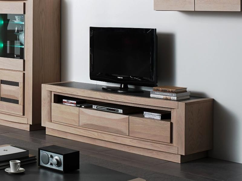 meuble tv marina en ch ne avec niche large 1 ou 3 tiroirs meubles bois massif. Black Bedroom Furniture Sets. Home Design Ideas