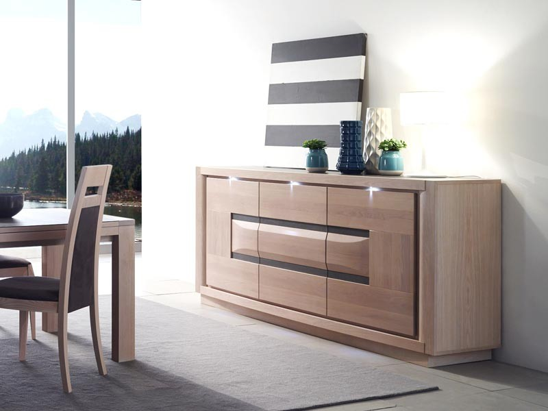 buffet marina en ch ne semi massif 3 portes avec plateau en c ramique meubles bois massif. Black Bedroom Furniture Sets. Home Design Ideas