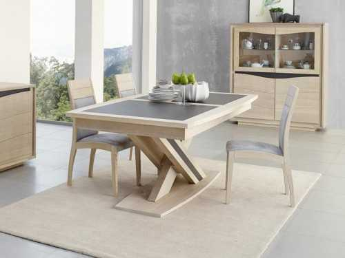 Table manger osiris en ch ne avec pied central meubles for Table salle a manger en ceramique