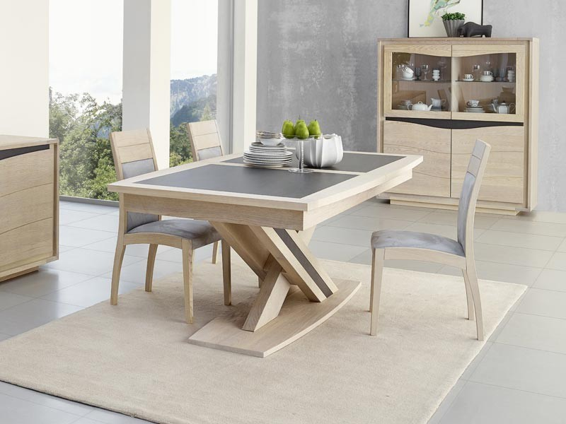 Table manger osiris en ch ne avec pied central meubles for Table salle a manger design pied central