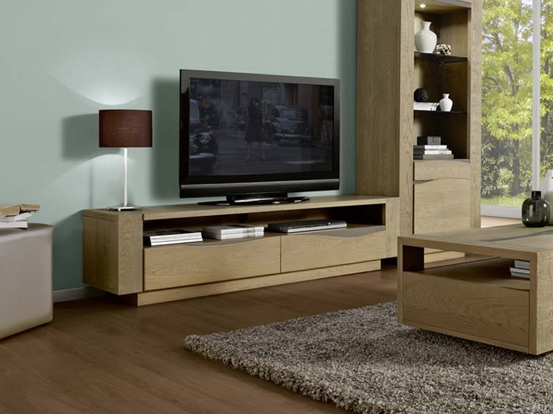 meuble tv bol ro en ch ne massif 2 tiroirs et une niche meubles bois massif. Black Bedroom Furniture Sets. Home Design Ideas