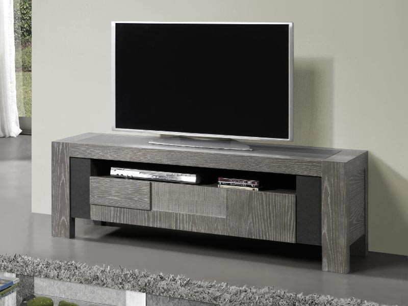 meuble tv volcan en ch ne avec plateau c ramique meubles bois massif. Black Bedroom Furniture Sets. Home Design Ideas