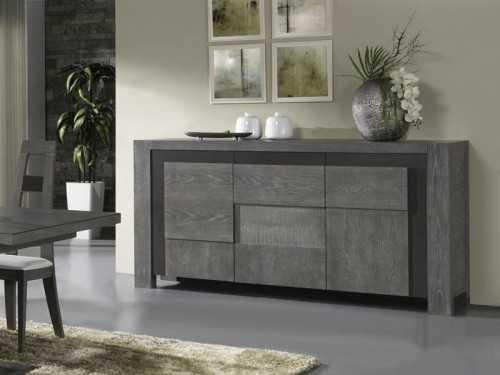 buffet 3 portes volcan en ch ne avec d tails c ramique. Black Bedroom Furniture Sets. Home Design Ideas