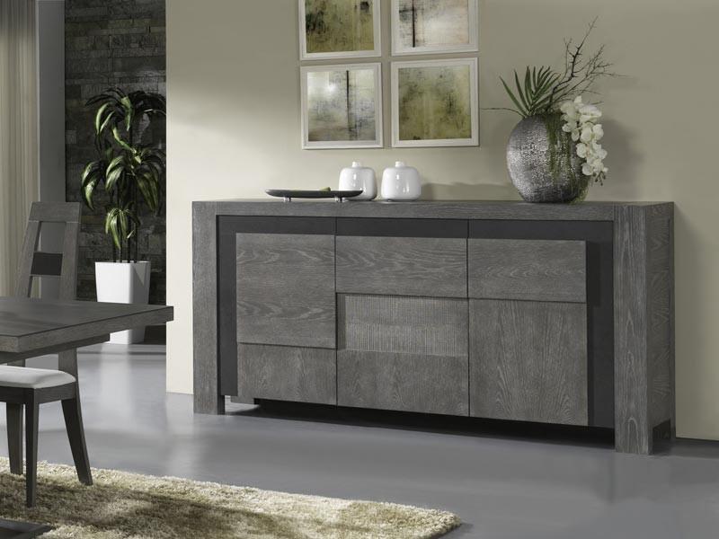 Buffet 3 portes volcan en ch ne avec d tails c ramique meubles bois massif - Buffet contemporain bois design ...
