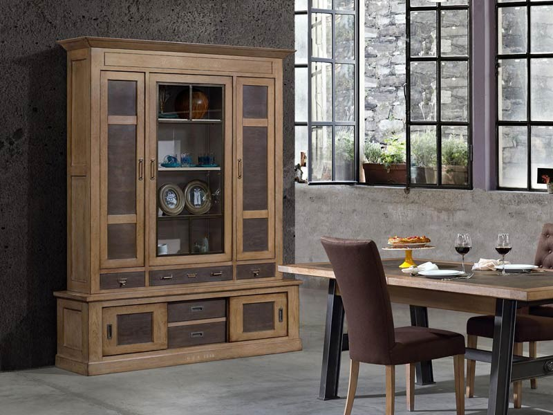 vaisselier vintage ganse en ch ne massif meubles bois massif. Black Bedroom Furniture Sets. Home Design Ideas