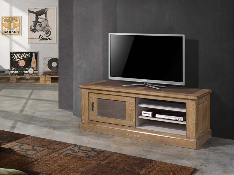 Meuble tv ganse en ch ne massif avec portes coulissantes for Meuble tv solde