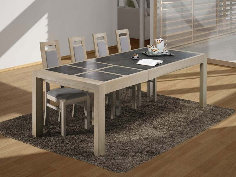 table manger etoile en ch ne plateau bois et c ramique meubles bois massif. Black Bedroom Furniture Sets. Home Design Ideas