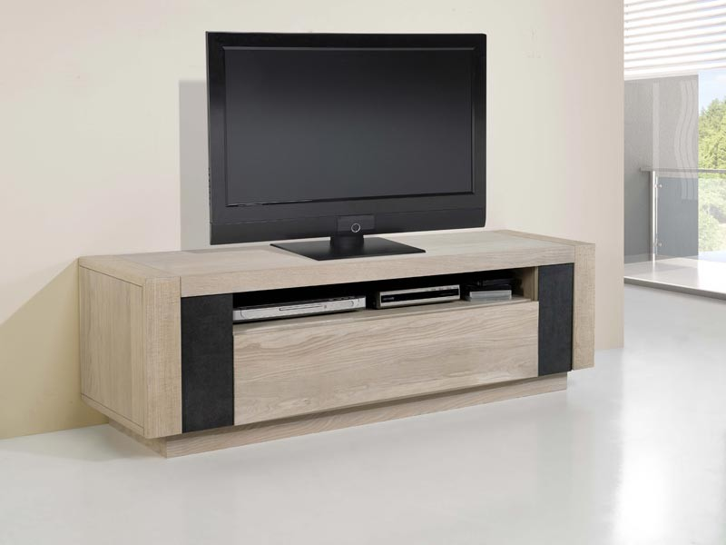 meuble tv etoile 2 tiroirs et 1 iche en ch ne avec. Black Bedroom Furniture Sets. Home Design Ideas