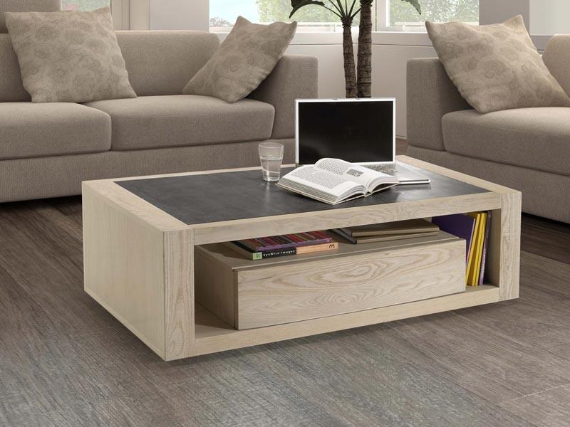 Table basse en ch ne etoile plateau ceramique avec 1 tiroir meubles bois ma - Table basse en bois avec tiroir ...