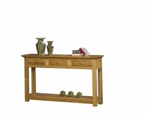 console mathilde en ch ne massif 2 plateaux avec tiroirs meubles bois massif. Black Bedroom Furniture Sets. Home Design Ideas