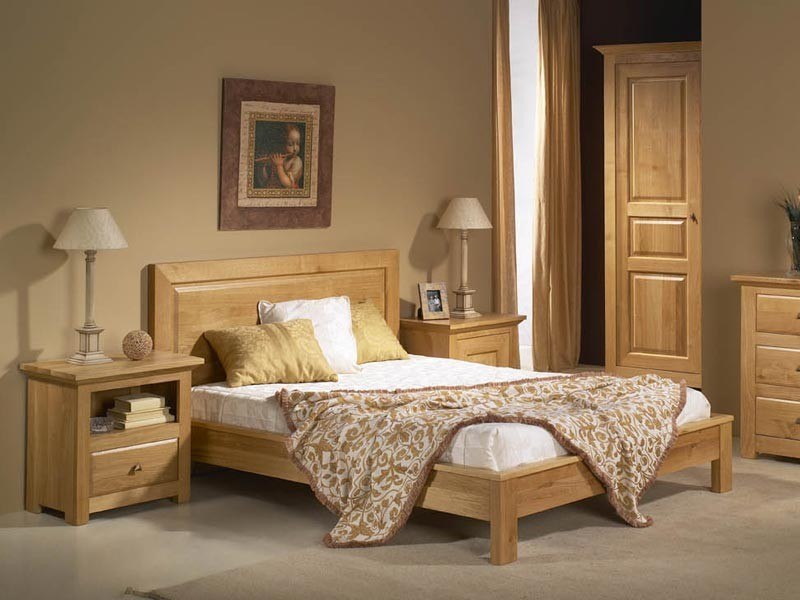 lit chene massif top chambre massif lit double en bois q. Black Bedroom Furniture Sets. Home Design Ideas