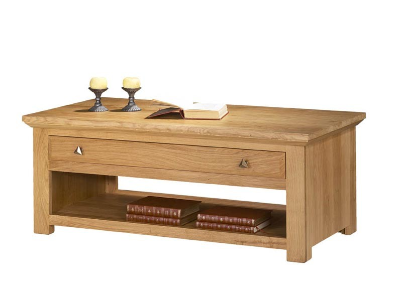 table basse mathilde en ch ne massif avec tiroirs meubles bois massif. Black Bedroom Furniture Sets. Home Design Ideas