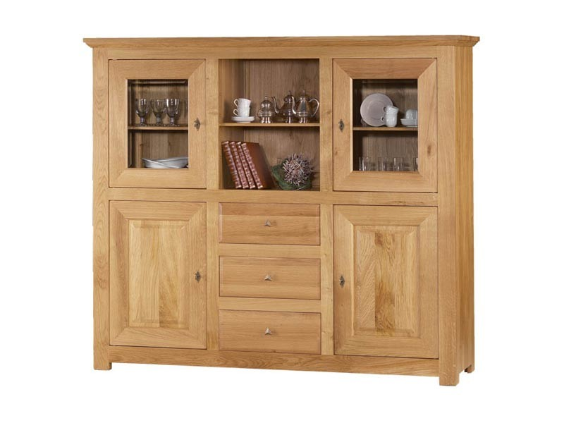 dressoir mathilde en ch ne massif 2 portes bois 2 portes vitr es et 1 niche meubles bois massif. Black Bedroom Furniture Sets. Home Design Ideas