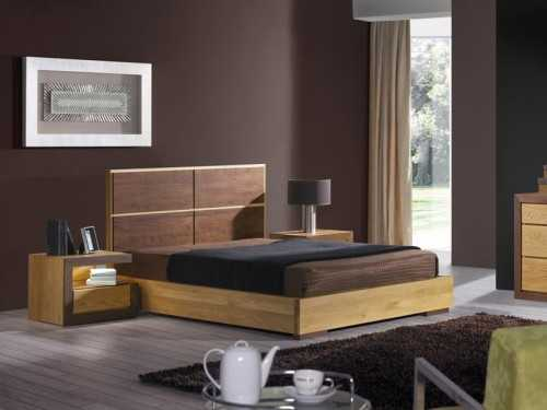 cadre de lit ruban en ch ne massif et bois de noyer. Black Bedroom Furniture Sets. Home Design Ideas