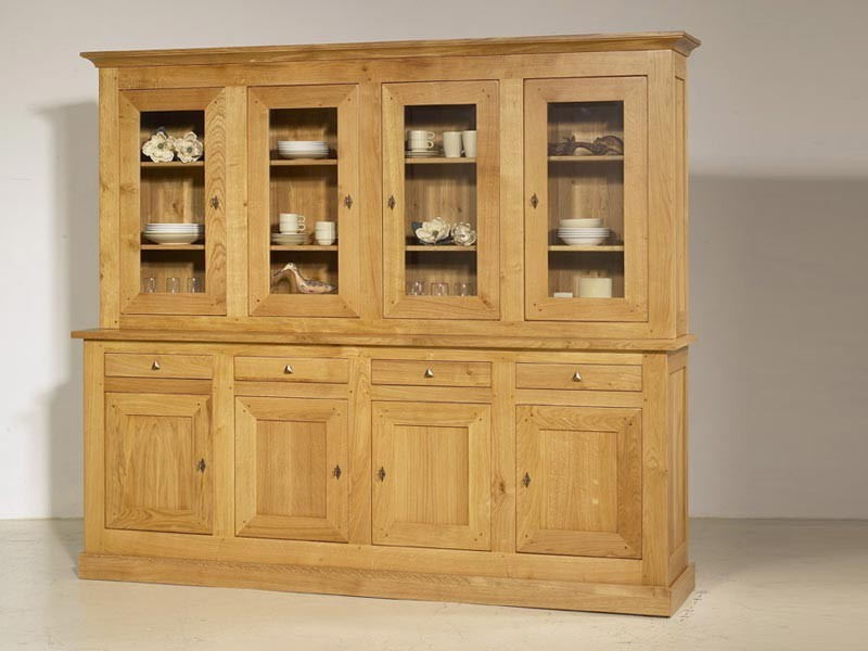 bahut transparence en ch ne massif 4 portes en bois et 4 tiroirs meubles bois massif. Black Bedroom Furniture Sets. Home Design Ideas