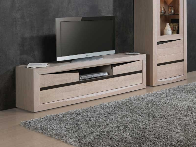 meuble tv contemporain sara en ch ne 2 portes 1 tiroir meubles bois massif. Black Bedroom Furniture Sets. Home Design Ideas