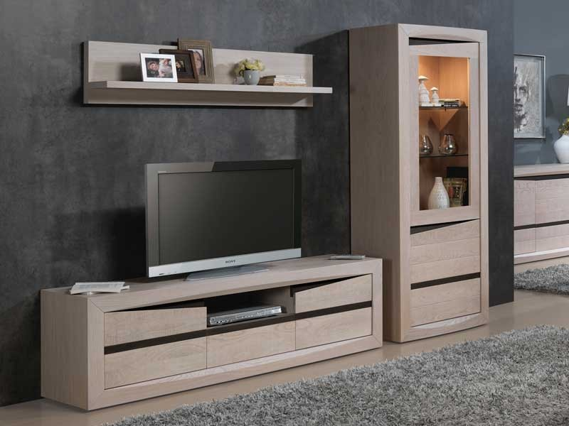 meuble en bois tv moderne. Black Bedroom Furniture Sets. Home Design Ideas
