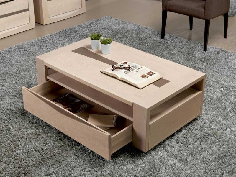 table basse rectangulaire sara en ch ne avec tiroir. Black Bedroom Furniture Sets. Home Design Ideas