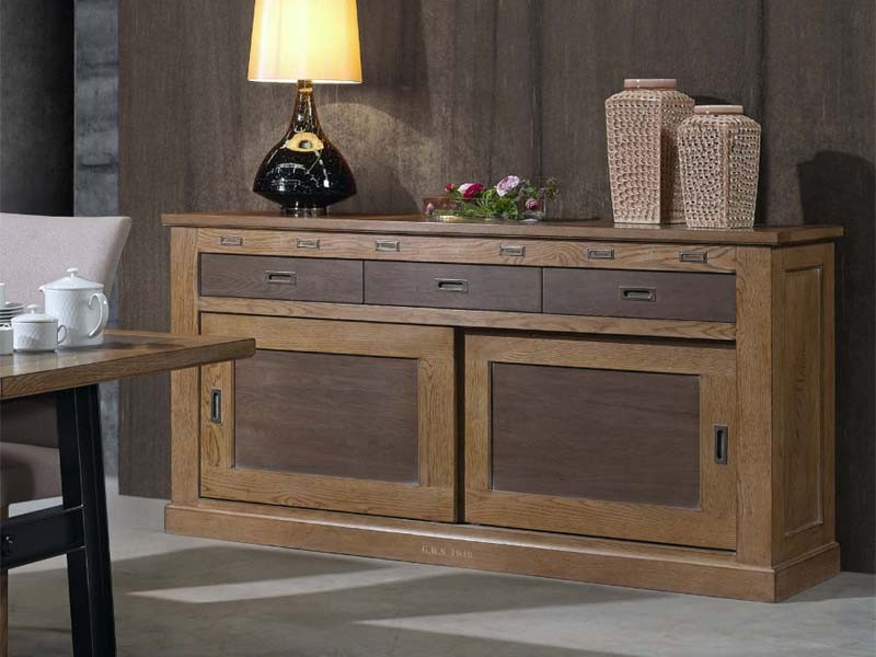 buffet vintage ganse en ch ne massif 2 portes coulissantes 3 tiroirs meubles bois massif. Black Bedroom Furniture Sets. Home Design Ideas