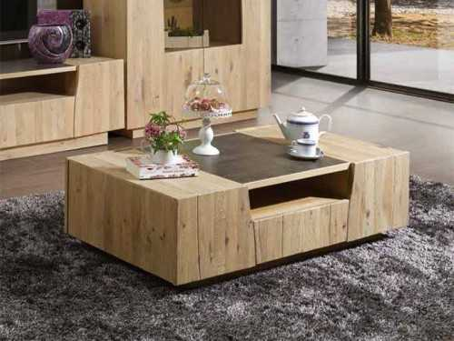 table basse sur socle 2 portes 1 niche 1 tiroir avec plateau c ramique meubles bois massif. Black Bedroom Furniture Sets. Home Design Ideas