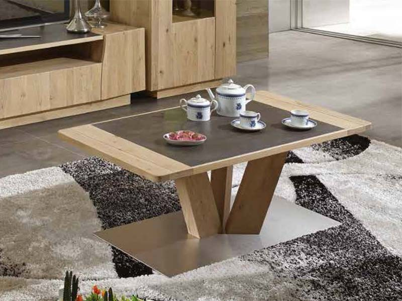 table basse rectangulaire flower en ch ne massif avec plateau en bois et ceramique meubles. Black Bedroom Furniture Sets. Home Design Ideas