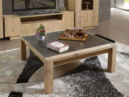 Table basse carr e flower en ch ne massif avec plateau for Table salon bois massif