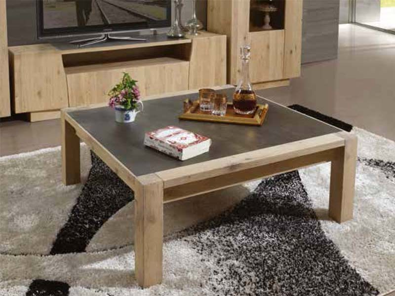 Table basse carr e flower en ch ne massif avec plateau for Table de salon carre