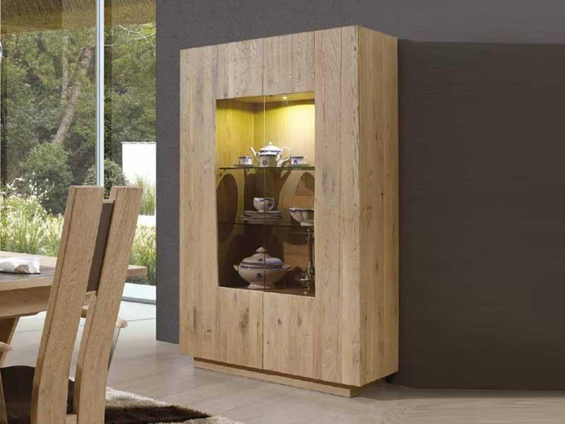 vitrine flower en ch ne massif 2 portes avec clairage int gr meubles bois massif. Black Bedroom Furniture Sets. Home Design Ideas
