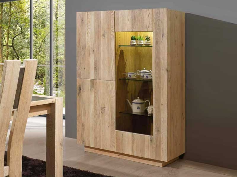vitrine contemporain 3 portes flower en chene massif clairage int gr meubles bois massif. Black Bedroom Furniture Sets. Home Design Ideas