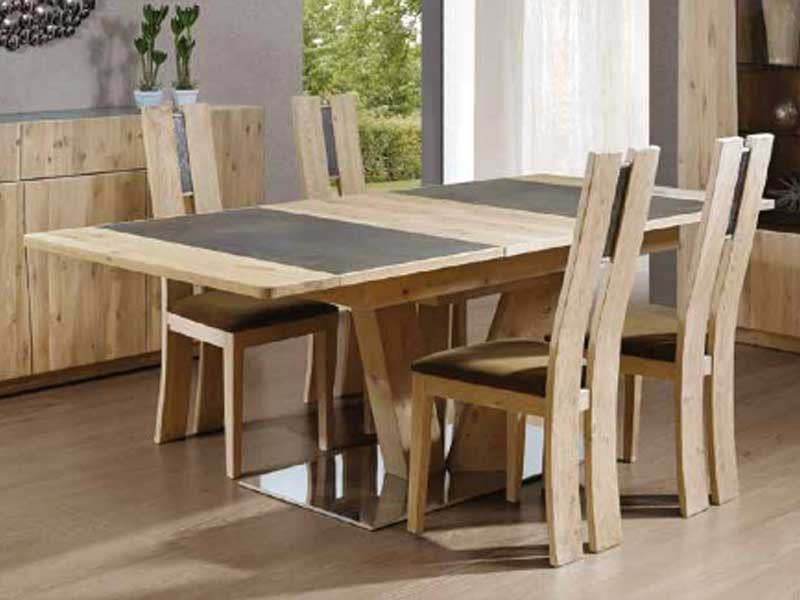 table manger en bois de ch ne flower rectangulaire avec allonge portefeuille meubles bois. Black Bedroom Furniture Sets. Home Design Ideas