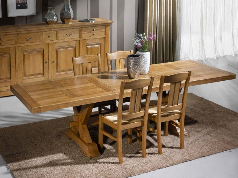 table manger rustique en ch ne massif 2 pieds en croix meubles bois massif. Black Bedroom Furniture Sets. Home Design Ideas