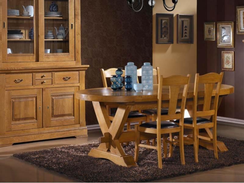 Table De Repas Rustique En Chene Massif Format Oval Avec Allonges