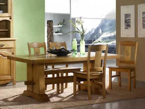 table de repas rustique en ch ne massif avec 2 pieds. Black Bedroom Furniture Sets. Home Design Ideas