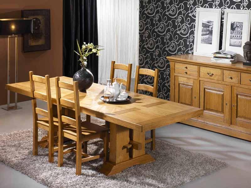 table de repas rustique en ch ne massif avec 2 pieds double poutre meubles bois massif. Black Bedroom Furniture Sets. Home Design Ideas